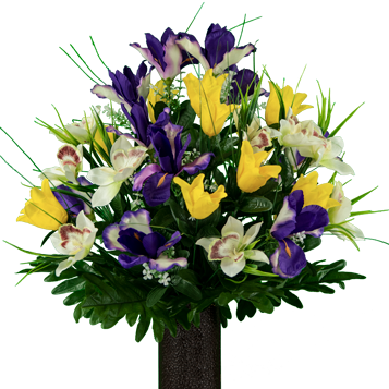 Sympathy Silks Artificial Cemetery Flowers - Realistic - Outdoor Grave Decorations - Non-Bleed Colors, and Easy Fit - Yellow Tulip & Purple Iris Bouquet Purple Tulip Flowers