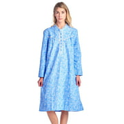 Casual Nights Women's Flannel Floral Long Sleeve Nightgown - Blue - 3X-Large