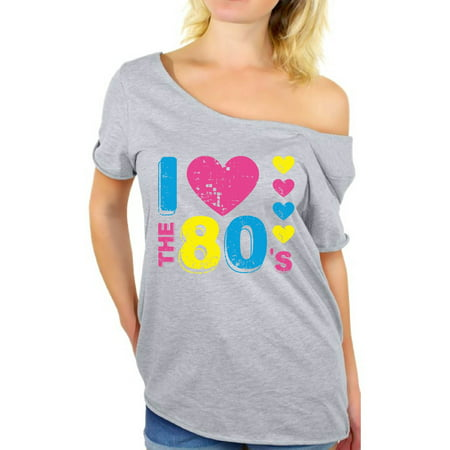 Awkward Styles I Love The 80's Off Shoulder Shirt I Love The 80's Flowy Top for Women 80's Party Outfits for Her Eighties Dolman Top Funny 80's Gifts for Women 80's Party Costumes 80's Baggy Shirt