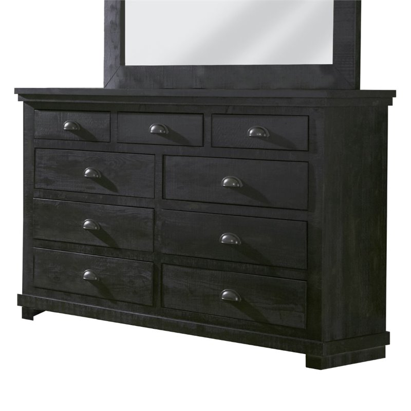 Progressive Willow 7 Drawer Dresser in Distressed White