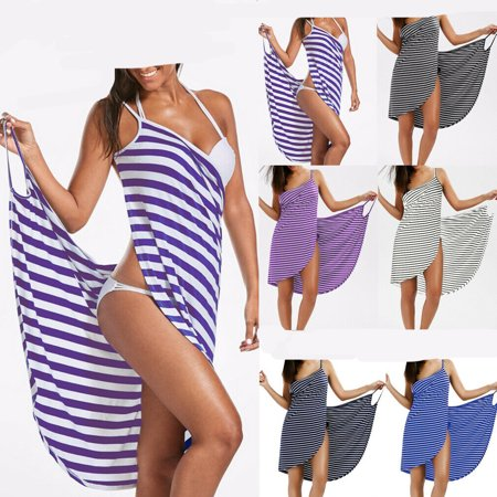 Lady Striped Sling Backless Beach Dress Holiday Swimwear Clothes Ladies Striped Simple Casual Dresses Female Clothing ()