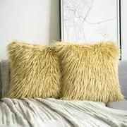 "Phantoscope Merino Style Faux Fur Series Decorative Throw Pillow, 18"" x 18"", Yellow, 2 Pack"