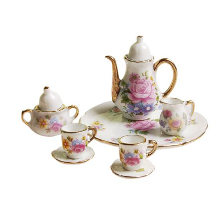 Tuscom 8pcs Dining Ware Porcelain Tea Set Pink Dish Cup Plate 1/6 Dollhouse Miniature