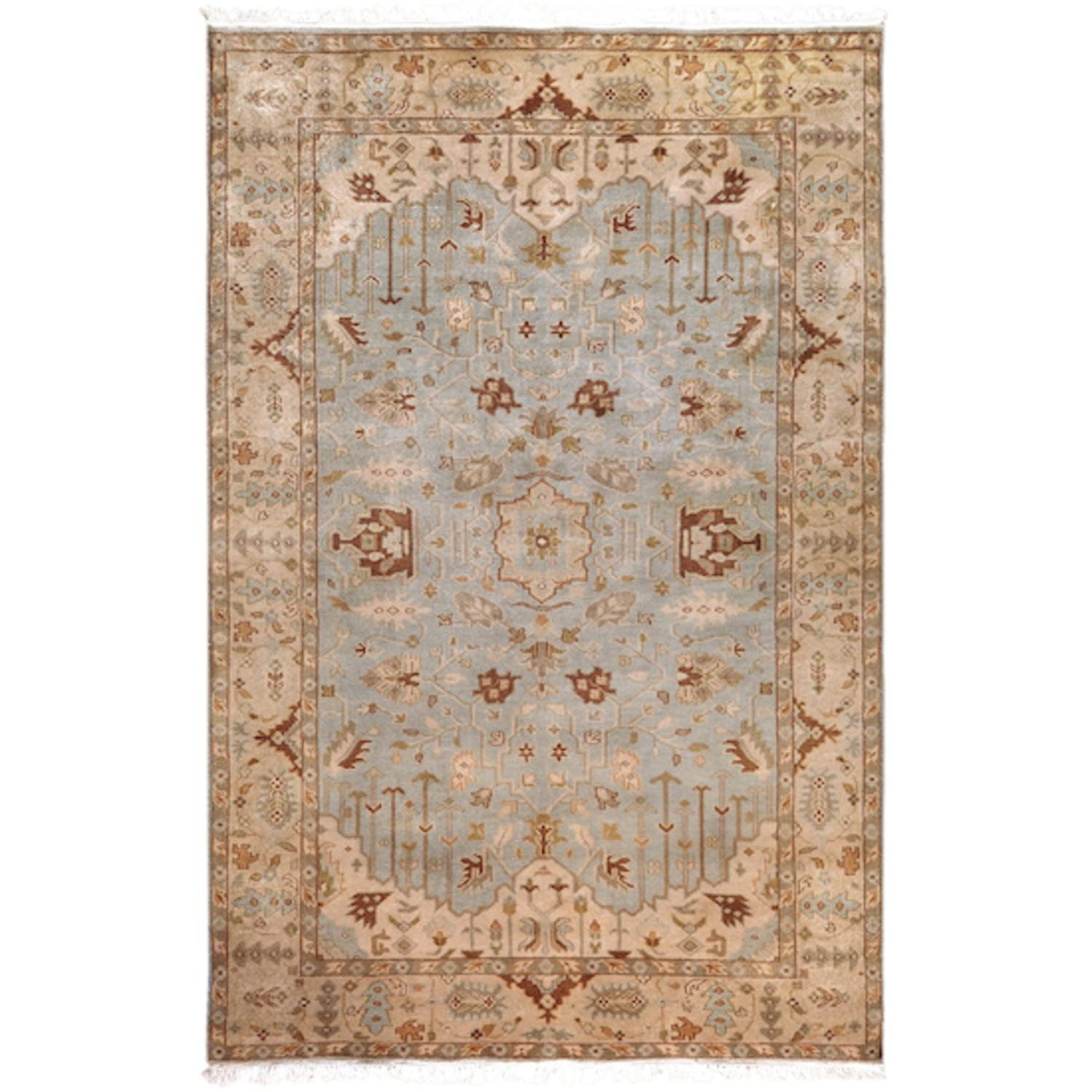 3.75' x 5.75' Beraber Taupe Beige, Fawn and Ecru Rectangular Wool Area Throw Rug