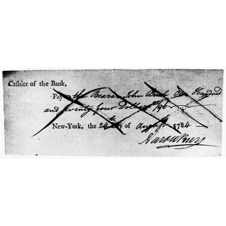 Aaron Burr  1756 1836  Namerican Political Leader Check Of The Bank Of New York Signed By Aaron Burr 24 August 1784 Rolled Canvas Art     24 X 36