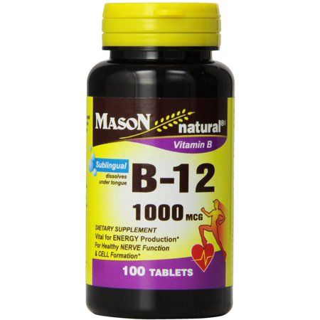 4 Pack - Mason Natural La vitamine B-12 1000mcg, comprimés sublinguaux 100 ch