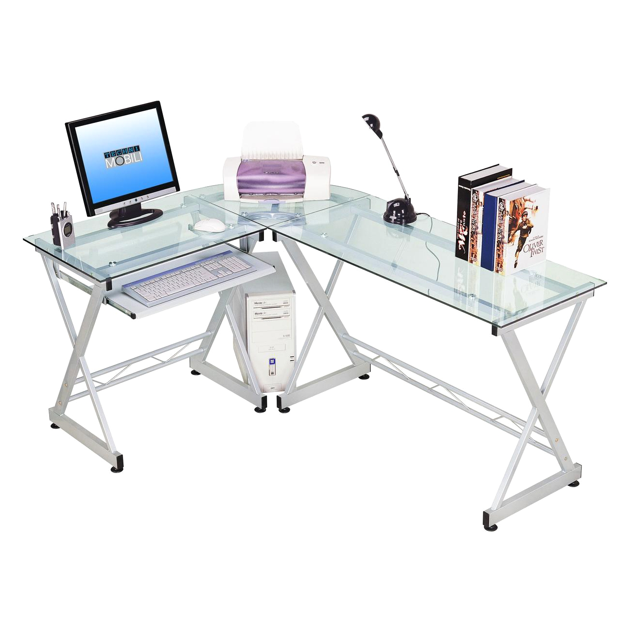 Techni Mobili L-shaped Glass Computer Desk, Gray