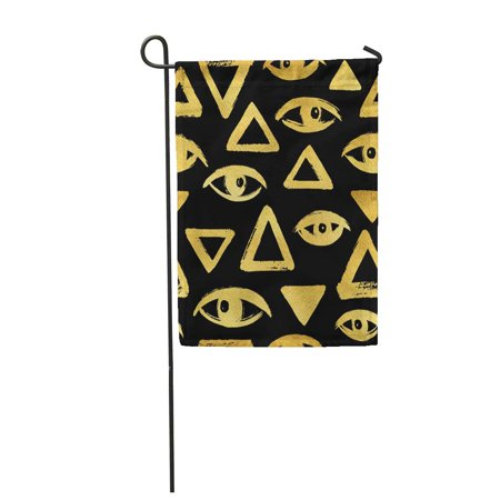 Rouge Brush - LADDKE Gold Brush Drawn Eyes and Triangles Rough Edges Surreal Garden Flag Decorative Flag House Banner 12x18 inch