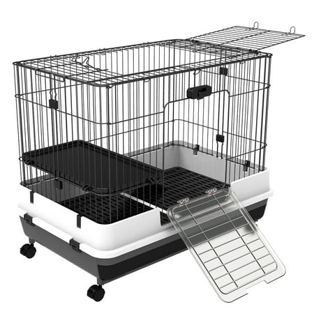 "PawHut 32"" Small Indoor Rabbit Cage with Wheels"