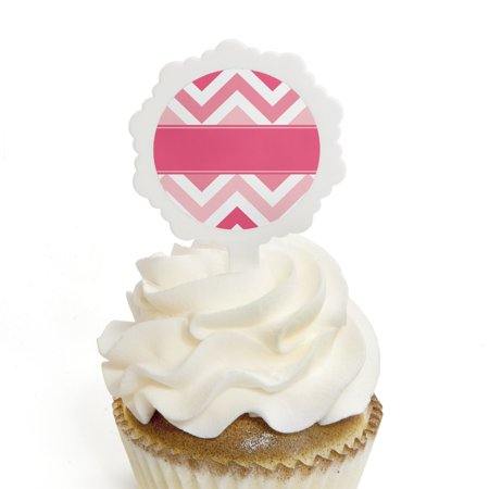 Chevron Pink - Cupcake Picks with Stickers - Baby, Bridal Shower or Birthday Party Cupcake Toppers - 12 Count