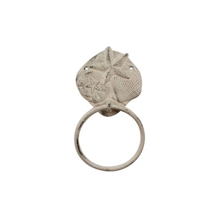 Essentials 8 Inch Towel Ring - Whitewashed Cast Iron Shell Sand Dollar Starfish Towel Holder 8