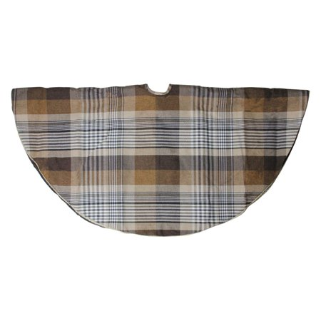 Northlight 48 in. Woodland Rustic Brown Plaid Christmas Tree Skirt with Gold Trim ()