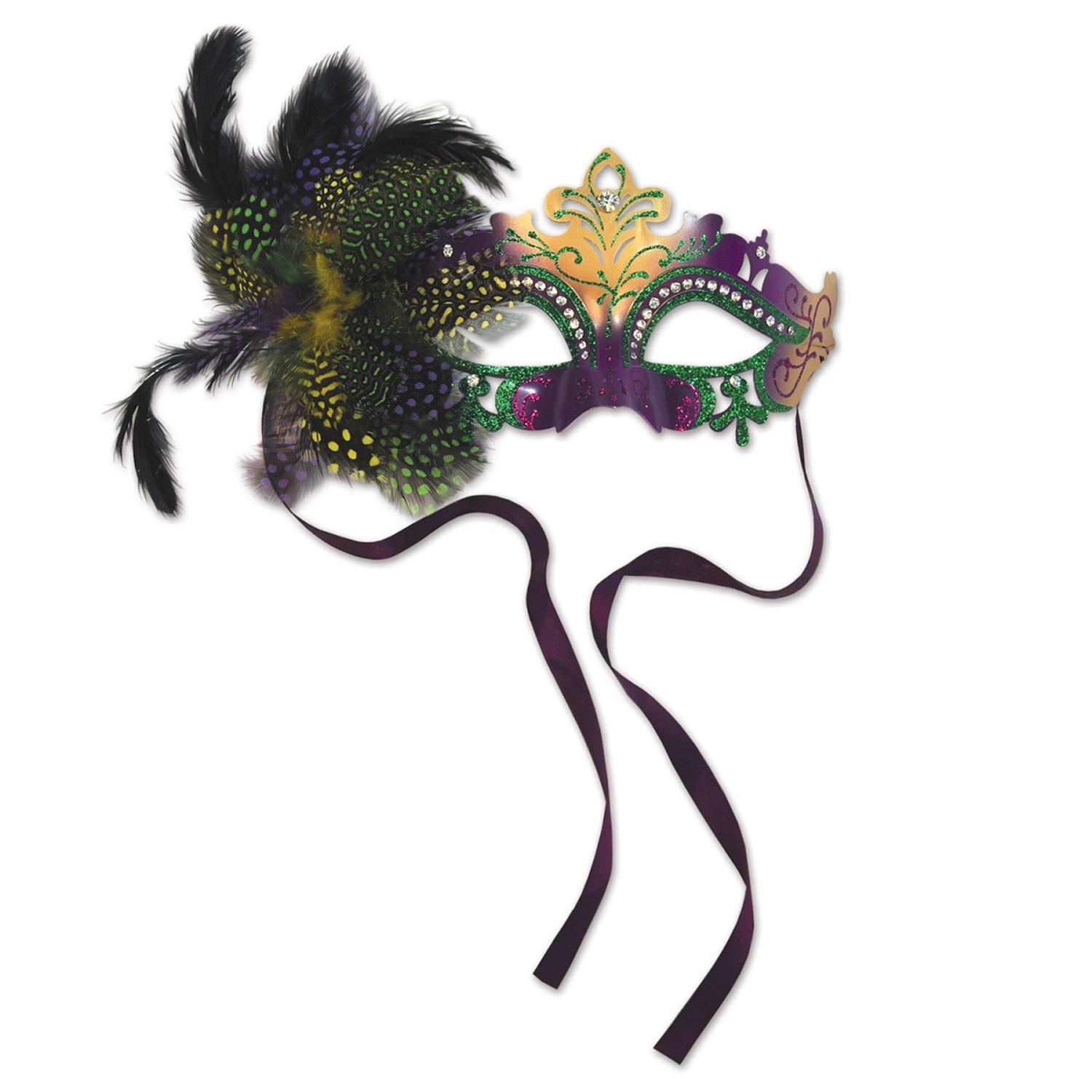 Pack of 6 Elegantly Glittered Green, Gold and Purple Metal Filigree Mardi Gras Masquerade Masks