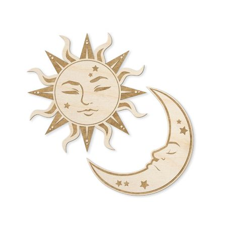 Woodums Sun and Moon Engraved Wood Sign Wall Decor - Sun And Moon Decor