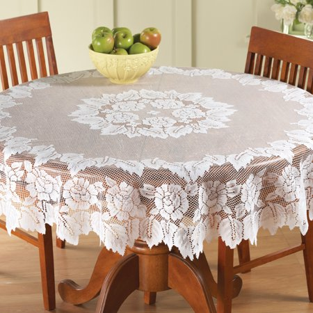 Classic Elegant White Floral Lace Tablecloth - Stand Alone or Layered Over Solid Color for Beautiful Accent, 60In, White