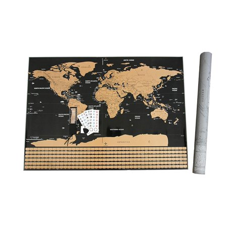 "- FOSSA Scratch Off World Map Wall Poster. Large 32"" x 23"" Mark and Track Your Travel for Travelers"