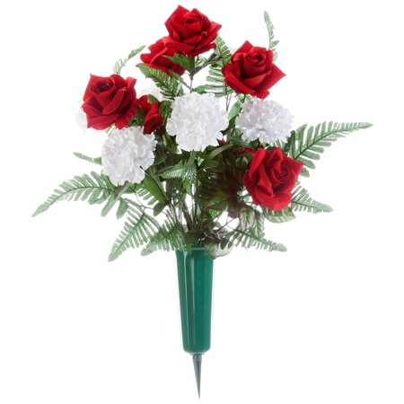 "OakRidge Red Roses and White Carnation Memorial Bouquet – Silk Floral Décor for Indoor/Outdoor Use – 12"" Diameter ()"