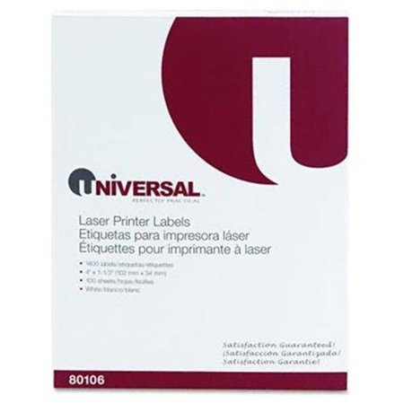 Universal Office Products 80106 Laser Printer Permanent Labels, 1-1/3 X 4, White, 1400/box