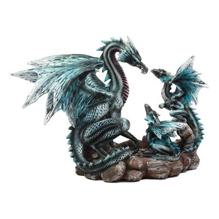 Ebros Narygos Blue Iceberg Mother Dragon With Baby Dragons Statue Home Decor Resin Fantasy Dragon Family Sculptural - Vintage Blue Resin