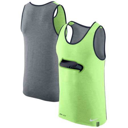 Seattle Seahawks Nike Colorblock Performance Tank Top - Neon Green/Heathered Gray (Mens Tank Tops Nike)