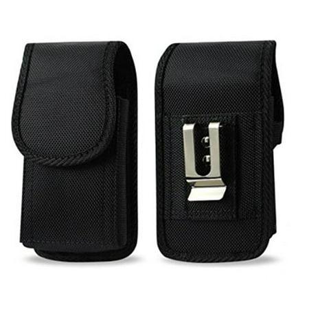 For Kyocera DuraXA E4510, DuraXV E4520, DuraXE E4710, DuraXTP E4281, DuraXV + Plus E4520 PTT, HEAVY DUTY RUGGED Canvas Vertical AGOZ Carrying Case Holster with Strong Metal Clip Belt Loops (Rainbow Loom Carrying Case)