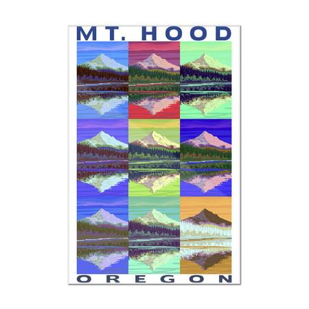 Mt. Hood, Oregon - Pop Art - Lantern Press Poster (8x12 Acrylic Wall Art Gallery Quality)