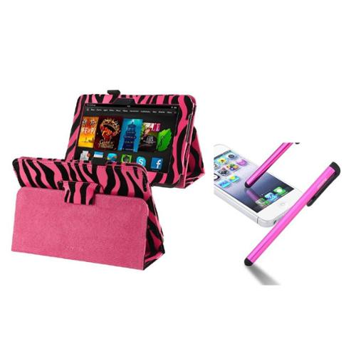 "Insten Pink Zebra Leather Case with Pen Holder+Stylus For Kindle Fire HD 7"" (designed for 2012 ver ONLY)(w/ Auto Wake)"