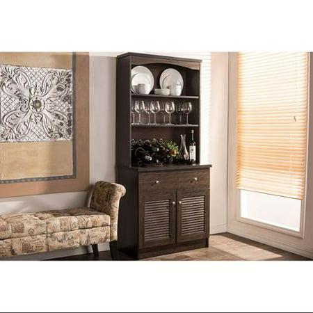 Baxton Studio Agni Modern and Contemporary Dark Brown Buffet and Hutch Kitchen Cabinet Modern Buffet Cabinet