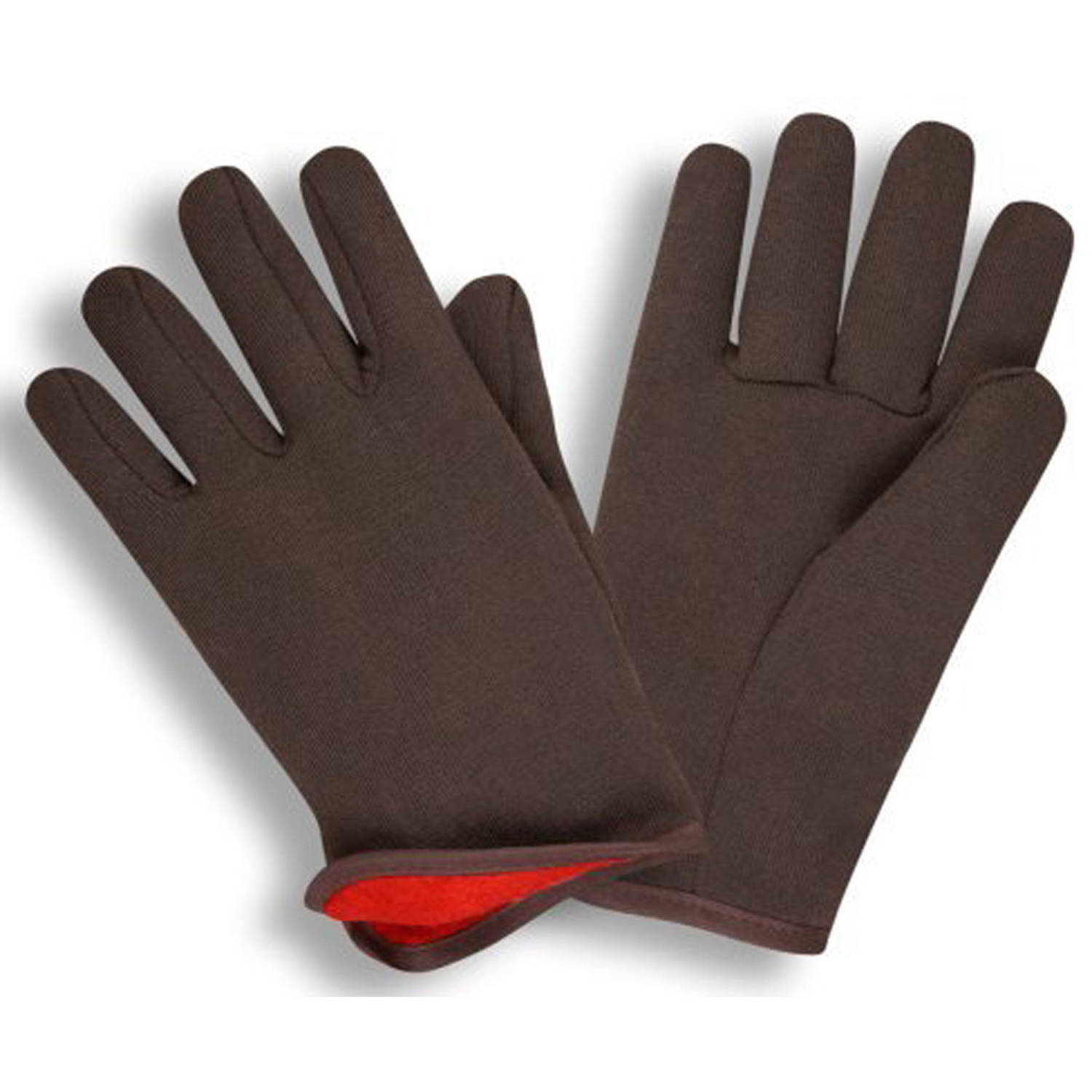 G & F Jersey Winter Gloves, Brown with Red Fleece Lining, Large, 12 Pairs by G & F