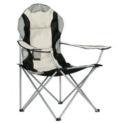 Black & Gray Folding Camping Chairs for Adults Heavy Duty, Sturdy Steel Frame Portable Outdoor Sport Chairs with High Back and Hard Arms