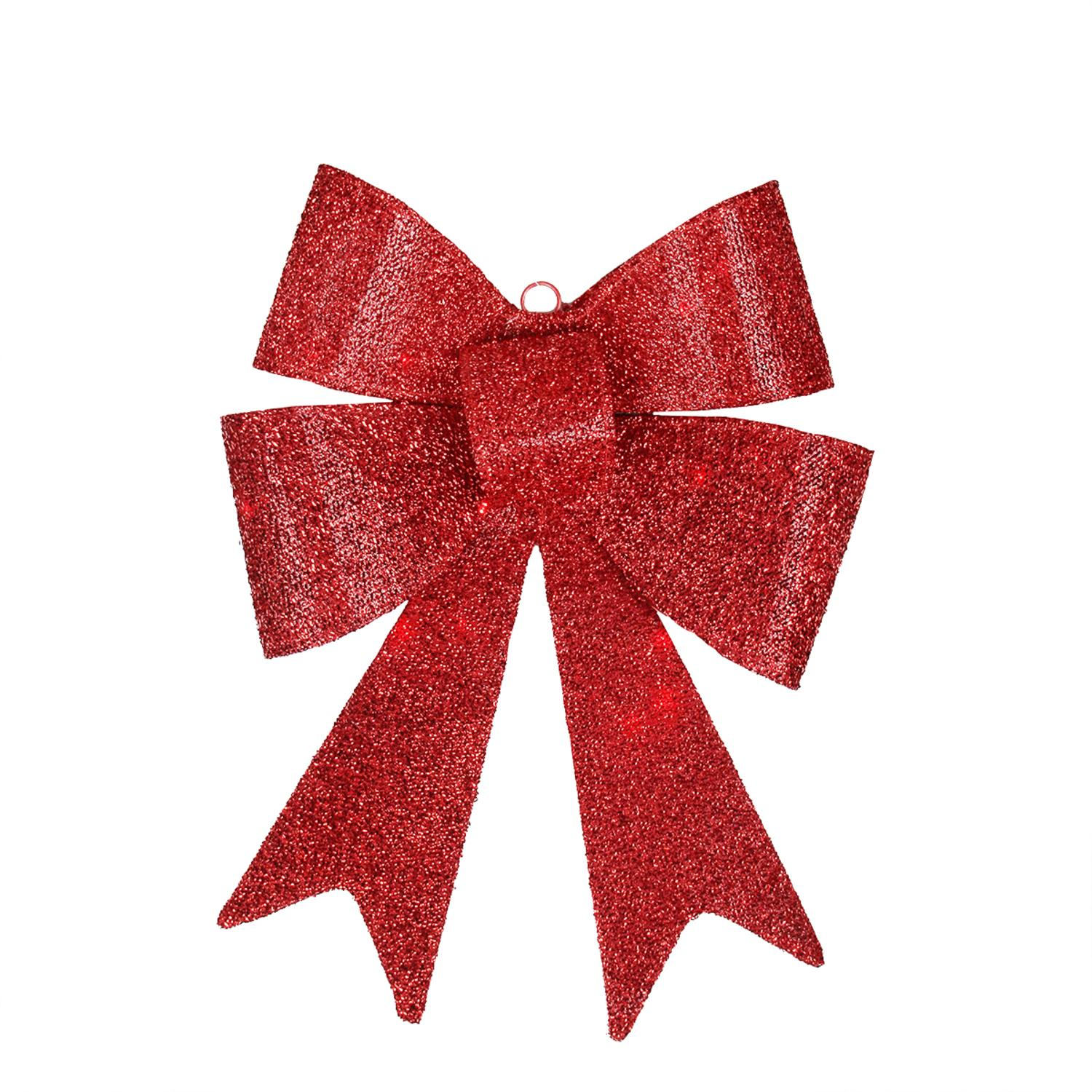 "17"" LED Lighted Battery Operated Vibrant Red Bow Christmas Decoration - Warm Clear Lights"