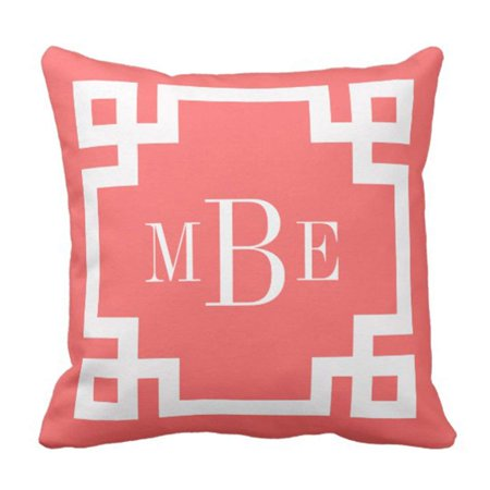 Preppy Monogrammed Gifts - BPBOP Cute Preppy Coral and Greek Key Monogram Girly Pillowcase Cushion Cover 16x16 inches