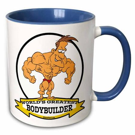 3dRose Funny Worlds Greatest Bodybuilder Men Cartoon - Two Tone Blue Mug, 11-ounce](Funny Bodybuilder)