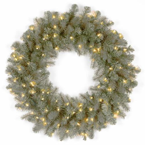 National Tree Co. Downswept Douglas Pre-Lit Blue Fir Wreath