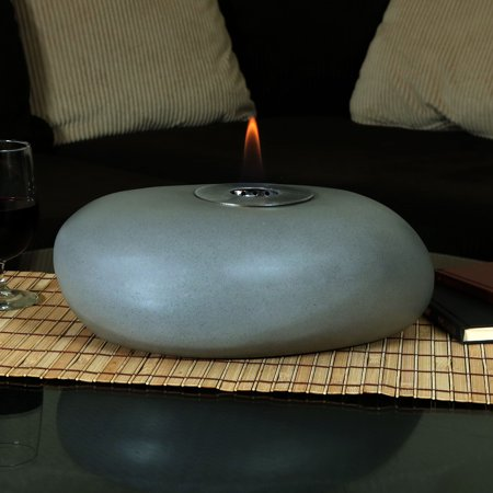 Sunnydaze Decorative Rock Tabletop Fireplace, Indoor Ventless Bio Ethanol Fire Pit, Long Lasting Burn Time, 14