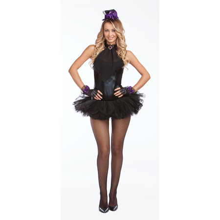 Halloween Wholesalers Mad Hatter Glam Sexy Costume - Black](Halloween Mad Hatter Makeup)