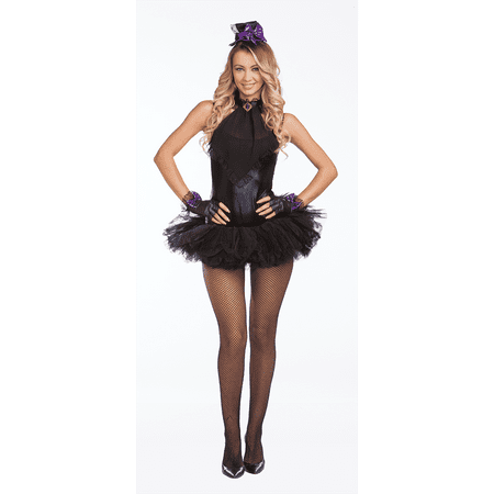 Halloween Wholesalers Mad Hatter Glam Sexy Costume - Black - Mad Hatter Tim Burton Costume