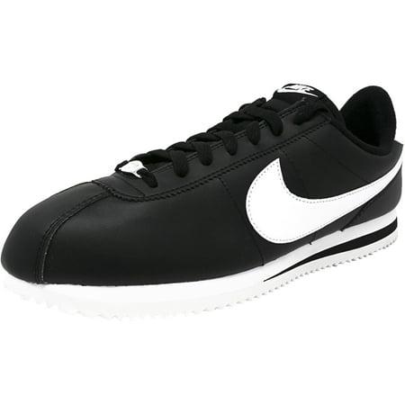 the latest 1dd1a 61e28 Nike Men s Cortez Basic Leather Black   White-Metallic Silver Fashion  Sneaker - 10M ...
