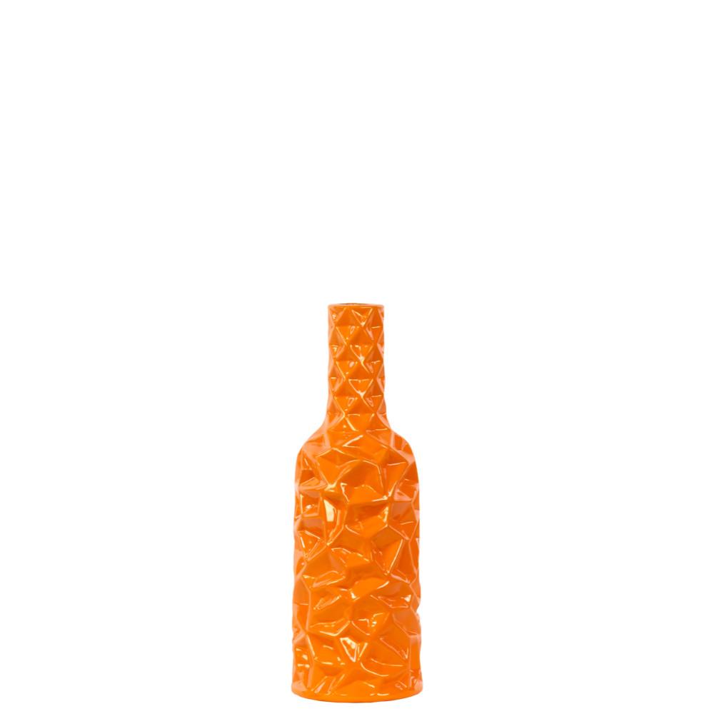 Small Round Bottle Vase with Wrinkled Sides - Orange - Benzara
