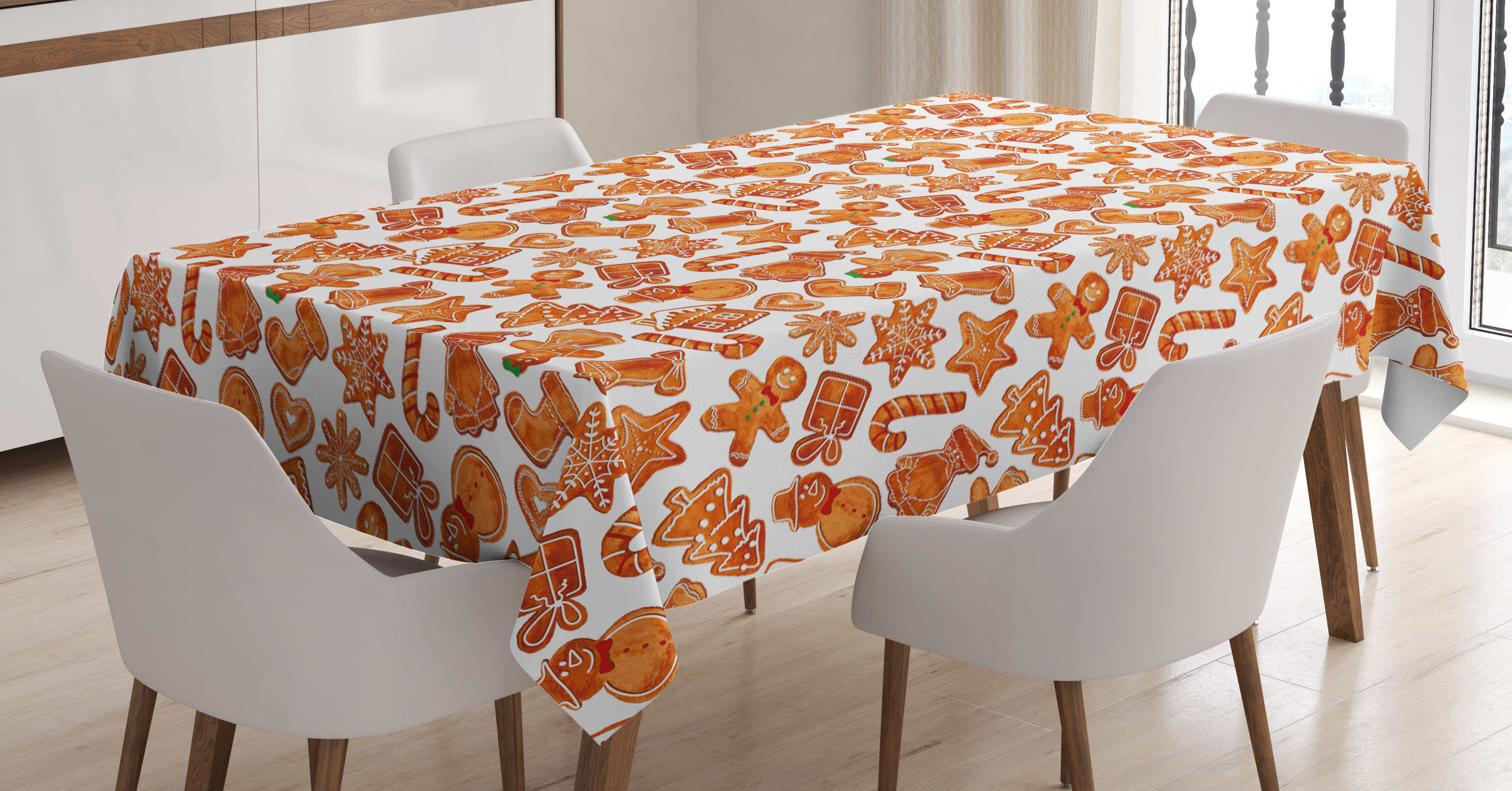 Charmant Christmas Tablecloth, Gingerbread Man House Cones Xmas Festive Cookie  Celebration Theme, Rectangular Table Cover