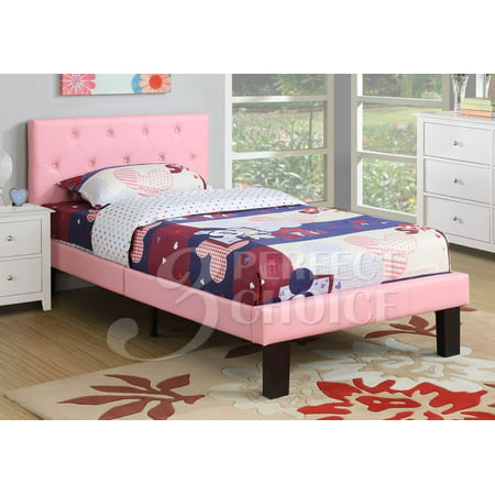 Poundex Upholstered Platform Bed, Twin, Multiple Colors](Beads For Kids)