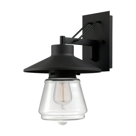 Globe Electric Montgomery 13u0022 1-Light Black Outdoor Wall Sconce with Clear Glass Shade, 44194