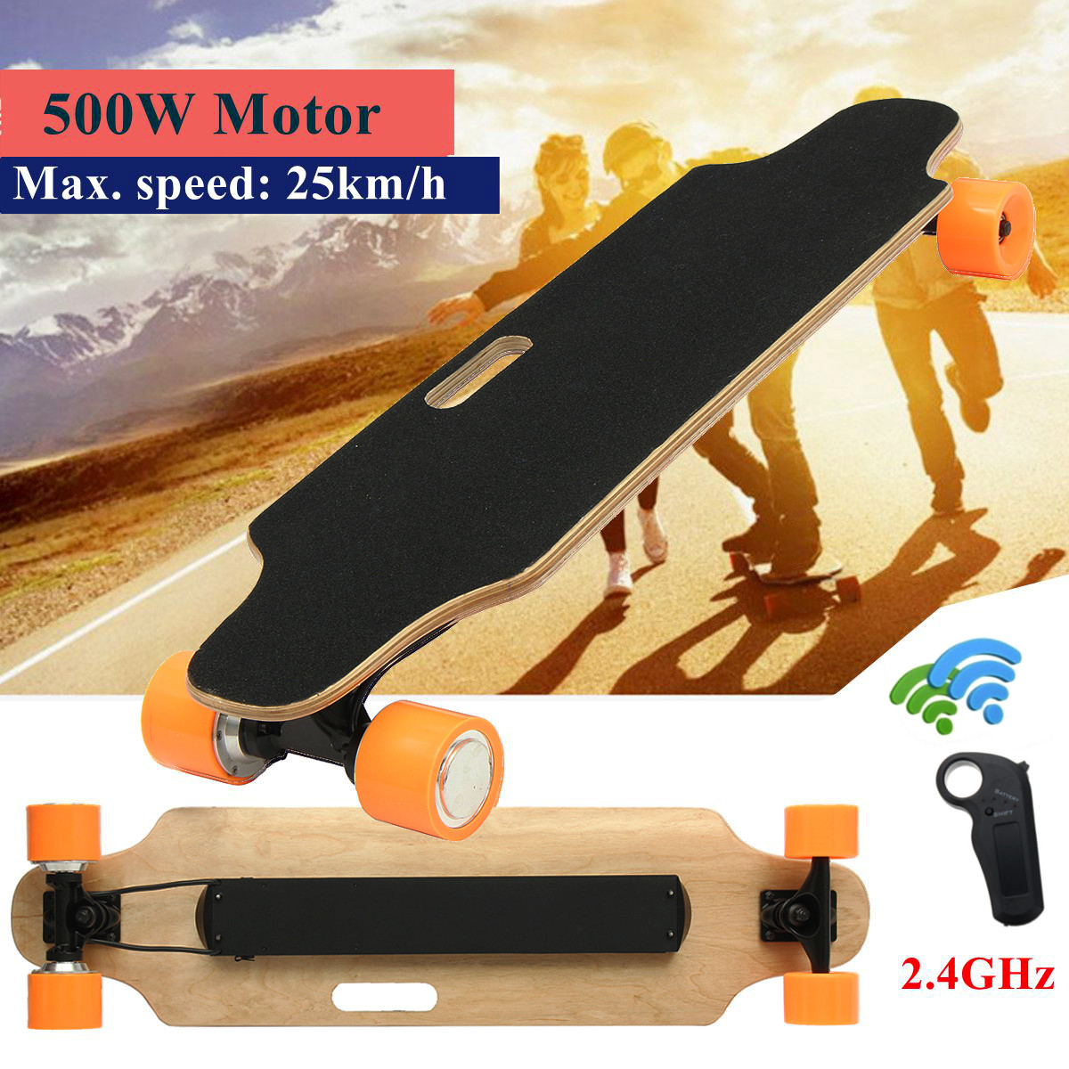 Wireless Electric Longboard Skateboard Four Complete Wheel with Remote Controller by
