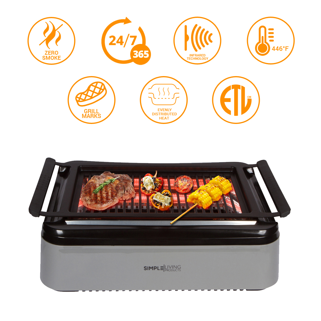 Simple Living Products Indoor Smokeless Grill with Advanced Infrared Technology