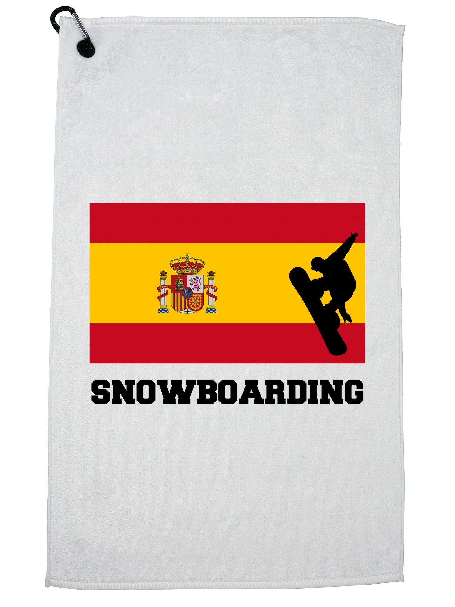 Spain Olympic Snowboarding Flag Silhouette Golf Towel with Carabiner Clip by Hollywood Thread