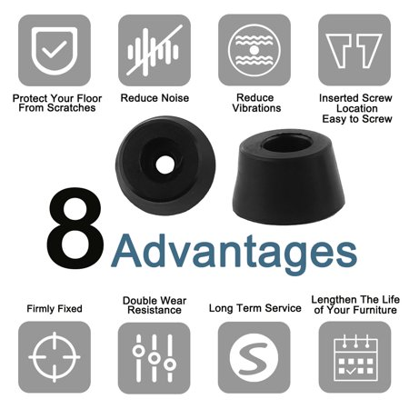 24pcs Rubber Feet Bumper Printer Cutting Board Speaker Cabinet Leg, D15x12xH8mm - image 6 de 7