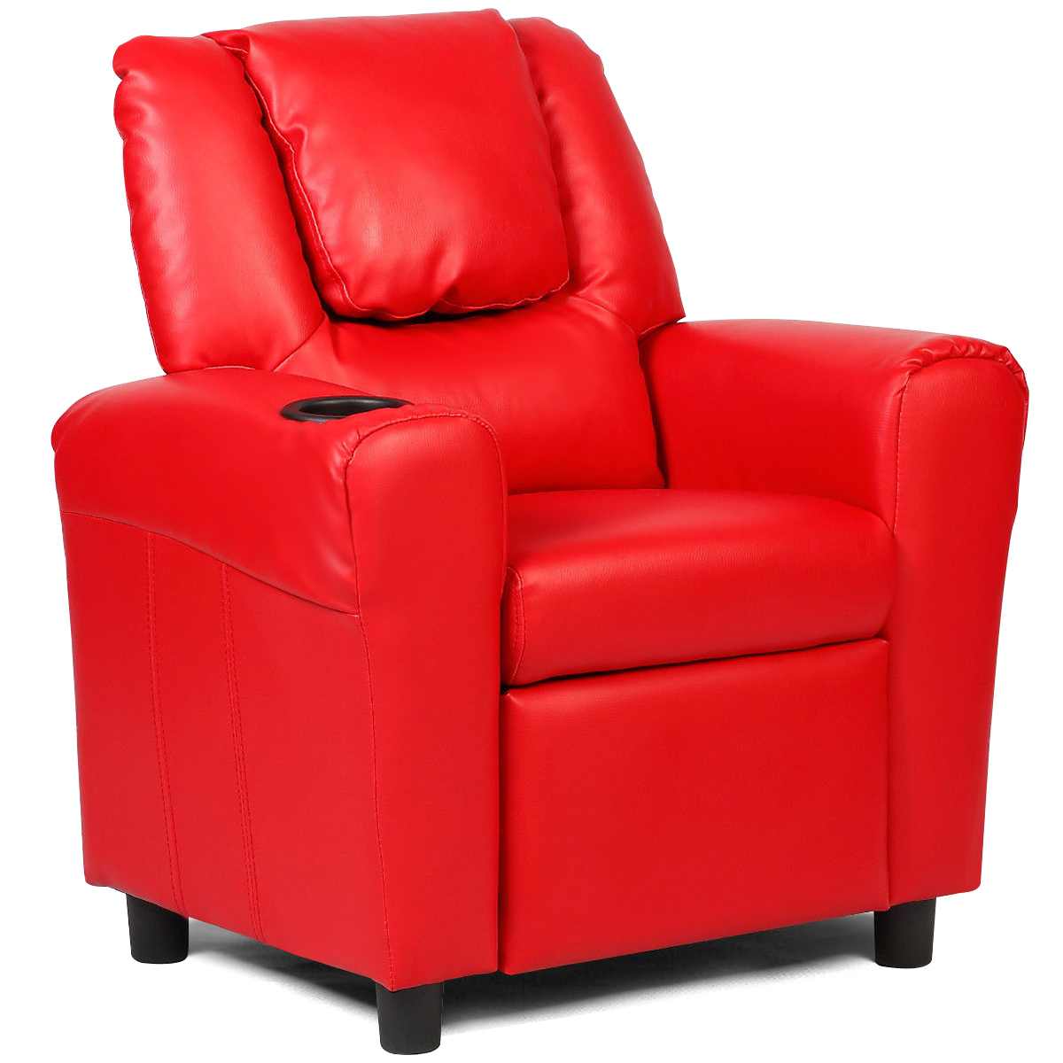 Costway Kids Recliner Armchair Childrenu0027s Furniture Sofa Seat Couch Chair  W/Cup Holder Red