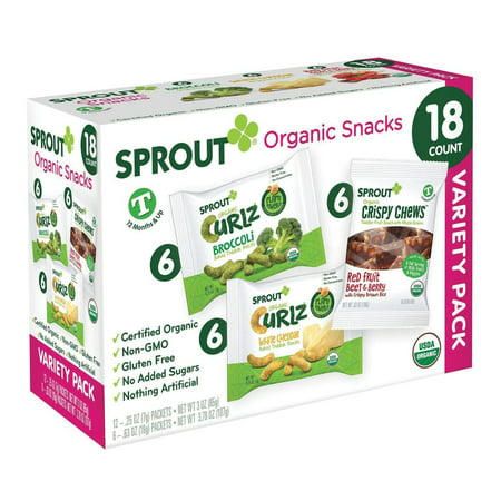 Product of Sprout Organic Snacks Variety Pack for Toddlers, 18 ct./ 0.25 oz. [Biz