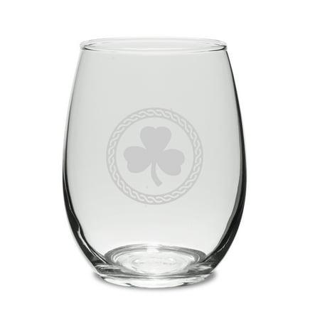 Shamrock Celtic Logo 15 oz Stemless White Wine Glass