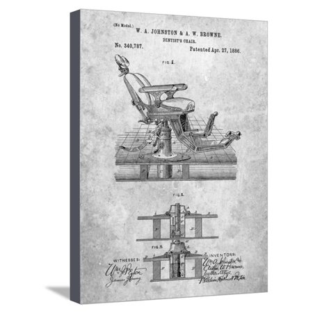 Dentists Chair Patent 1886 Stretched Canvas Print Wall Art By Cole (Dentist Chair)
